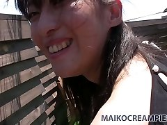 Ugly Asian brunette Miki Sugimoto blows cock and fucks from the rear outside