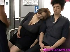 Giant tits asian fucked on train by 2 guys