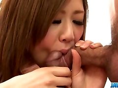 Rin Saotome swallows after serious Japan trheesome