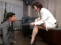 asian foot female domination smoking with cigarette holder