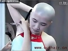 beautiful girl armpits hair shaved by barber with a straight razor.