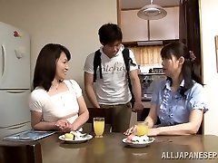 Obscene Japanese mature babe Yuuri Saejima juggles on rod