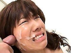 Asian school blowjob with slutty redhead taking grubby facial