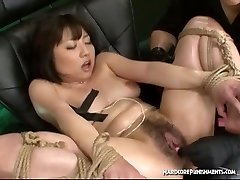 Stellar Asian girls corded down and brought to orgasm with vibrating romp toys