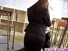 Mei Sawai Asian buxomy in office suit gives hot blowjob at college