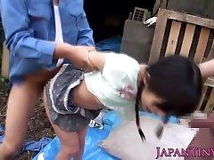 Limber facialized asian teens mmf threeway