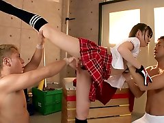 Flexible female Plumbs Two Guys In The Gymnasium