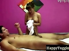 Asian massagist makes him blow his fountain