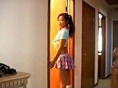 Naughty asian schoolgirl weenie sucking lessons