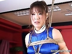 Roped asian preggie sex slave gets huge breasts rubbed