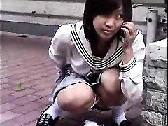 Bottomless Japanese nurse sixtynine oral pleasure in public