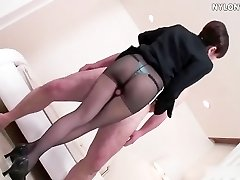 nylon tights attendant pantyhose footjob