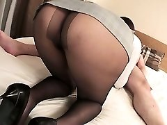 Mai Asahina takes on a massive dick in her stocking riding
