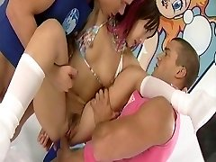 Katsumi takes three dicks in her fuck-holes