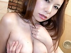 Hiromi Asian with big boobs licks rigid boner and gets electro-hitachi