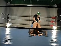 Busty hairy Jap banged in a grappling ring