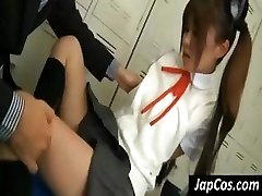 Young Asian gal gets her hand pits ate and her feet worshiped