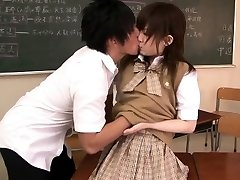 Petite asian student banged in classroom
