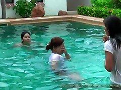 beautiful thai femmes in pool