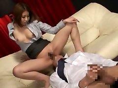 Neverjetno Japonski kurba v Eksotičnih Sekretar, Masaža JAV posnetek