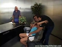 Swinger hot wifey pounds while hubby watches