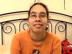 amaterski - srčkan asian očala teen zajebal & obraza
