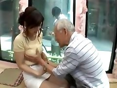 Candid young japan girl be tempted by older man