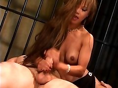 Gorgeous thin asian slut in high high-heeled slippers rides a huge dick and gets jizzed on