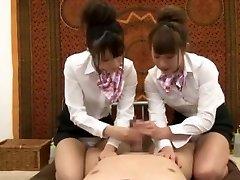 Crazy Japanese chick Hinata Tachibana, Hiyori Wakaba, Eri Ouka in Insane Handjobs, Threesomes JAV video