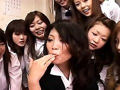 Group cfnm female dominance hand and blowjob