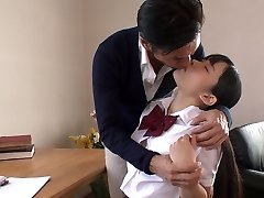 Japanese college hotty lures her educator and sucks his fleshy cock in 69 pose