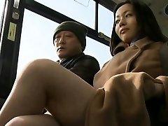 Concupiscent passenger manhandles sexy babe in public
