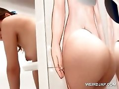 Sexy asian ginger-haired gets snatch licked on gloryhole