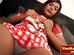 Solo asian transsexual jizzing in slowmotion