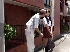 young jap student is seduced by old man in bus