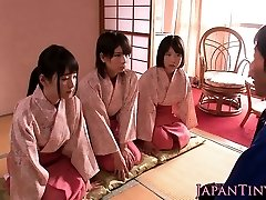 Japanese geishas cockblowing in asian fourway
