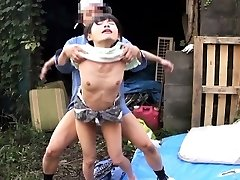 Cocksucking asian outdoors in 3some fucked