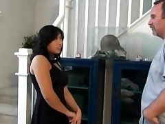 Chubby asian cousin fuck and creampie on the stairs