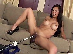 SEXY FIT ASIAN COUGAR TIA POUNDS DILDO MACHINE ROBOT