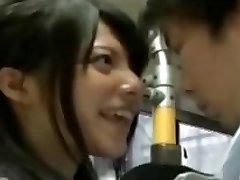 horny schoolgirl seduce office workers on bus