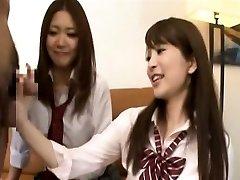 Subtitled CFNM Asian college girls tagteam fellatio