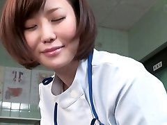 Subtitled CFNM Japanese dame physician gives patient handjob