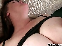 Busty grandma has to take care of her pulsing stiff clit