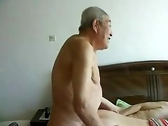 Awesome chinese aged people having great fuck-a-thon