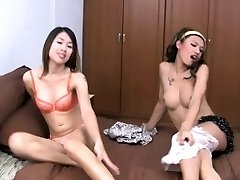 Two mischievous teen ladyboys are fooling around before bum poking