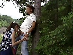 Asian deep-throating in the wood