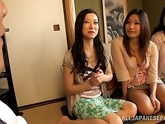 Busty Housewifes Team Up On One Boy And Jerk Him Off