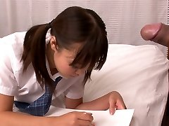 Lusty Asian school slut Momoka Rin sucks succulent cock of her camera fellow