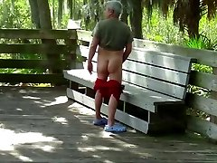Chubby plumbs silver daddy outside
