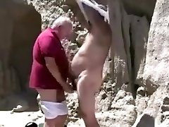 Two mature old gay granddad playing with each other